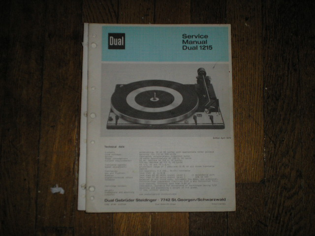 1215 Turntable Service Manual  Dual