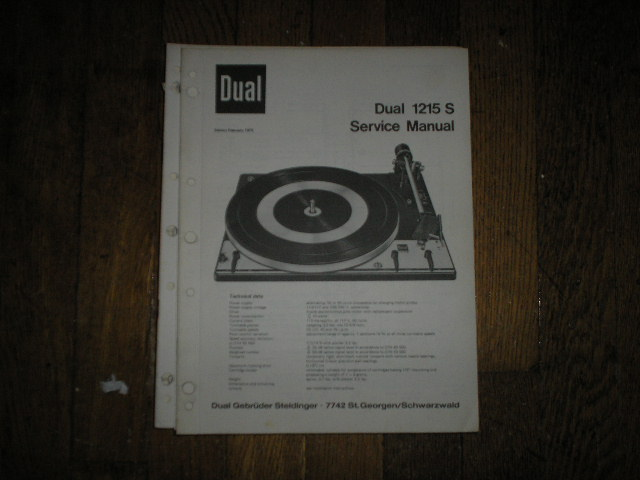 1215-S Turntable Service Manual  Dual