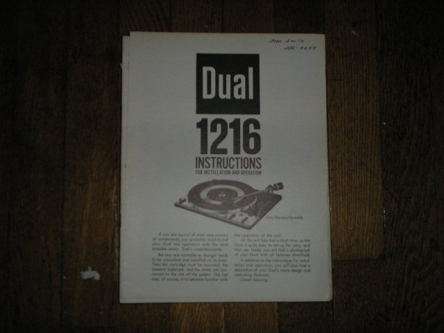 1216 Turntable Operator Manual  Dual