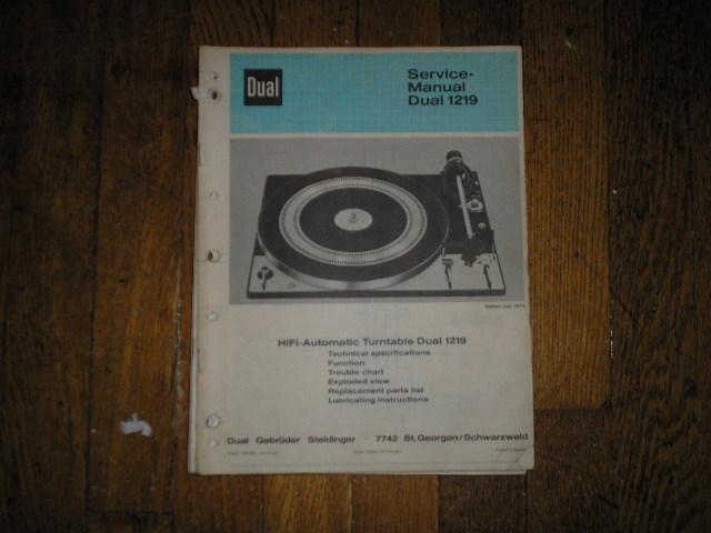 1219 Turntable Service Manual