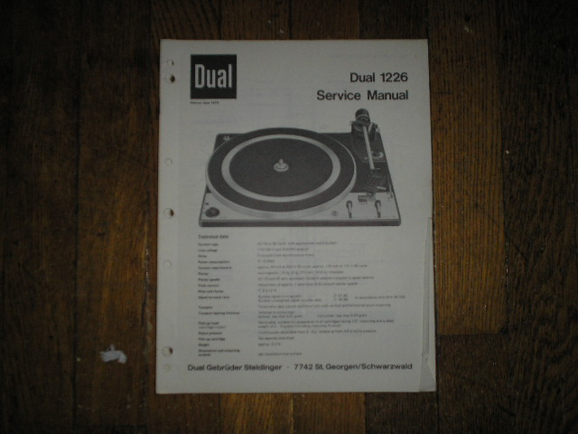 1226 Turntable Service Manual  Dual