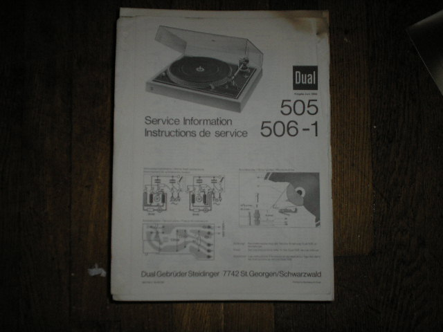 505 506-1 Turntable Service Manual  Dual