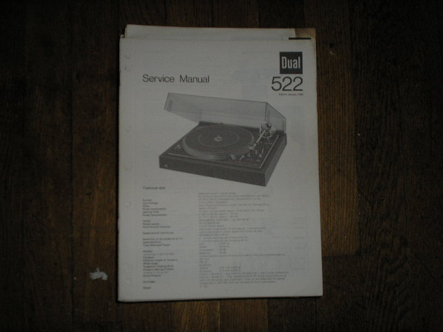 522 Turntable Service Manual  Dual