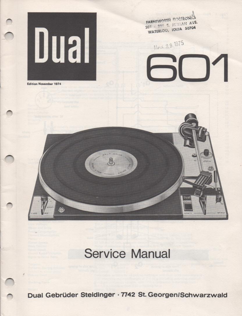 601 Turntable Service Manual