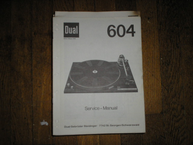 604 Turntable Service Manual  Dual