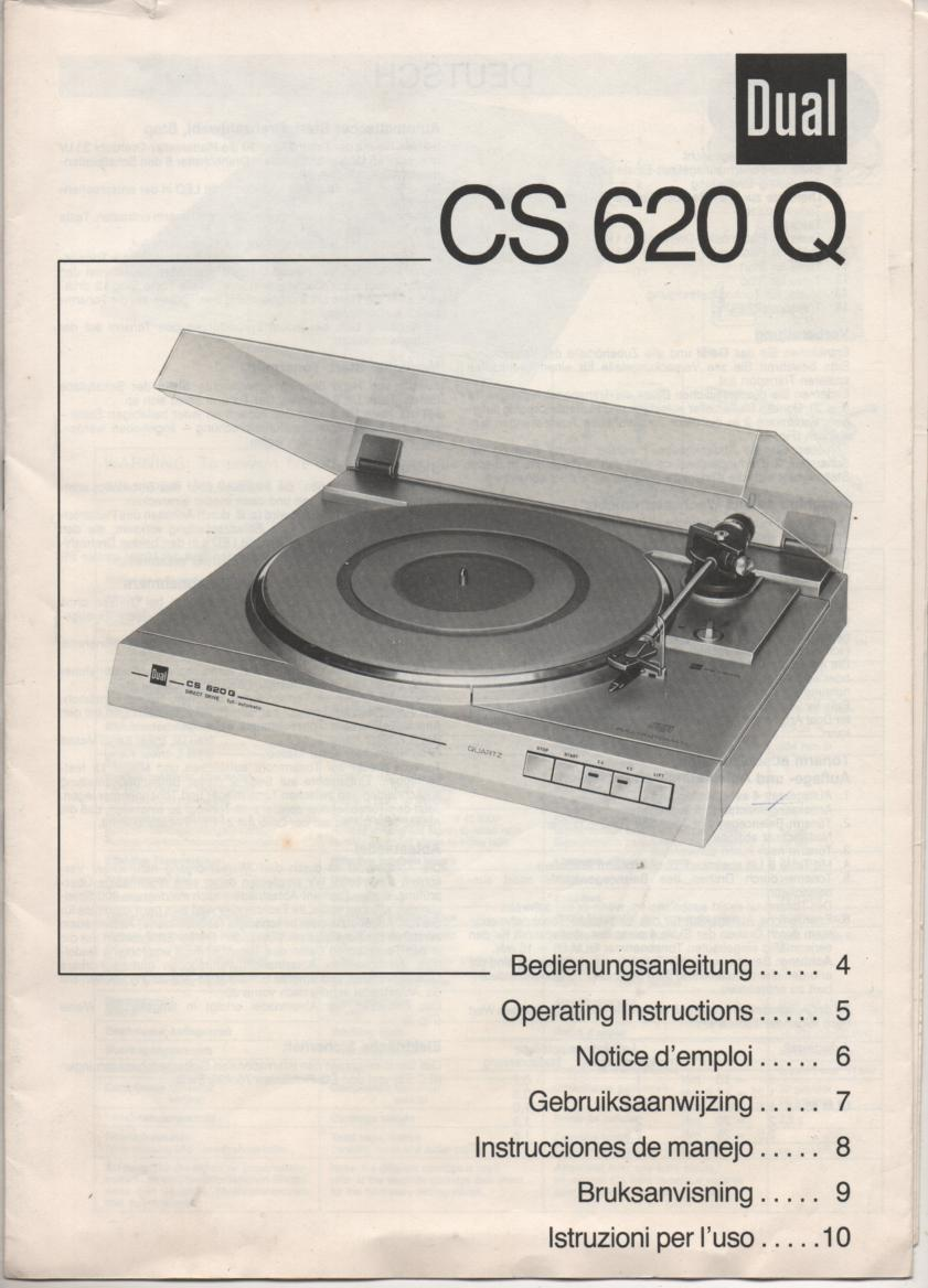 CS-620Q Turntable Owners Manual