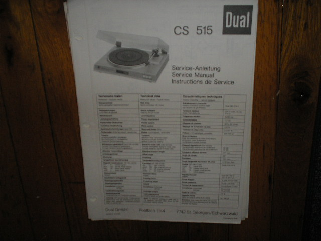 CS515 Turntable Service Manual  Dual