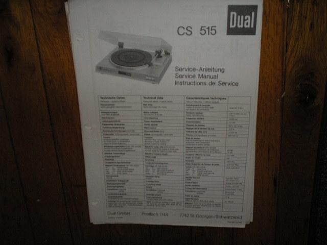 CS515 CS 515 Turntable Service Manual