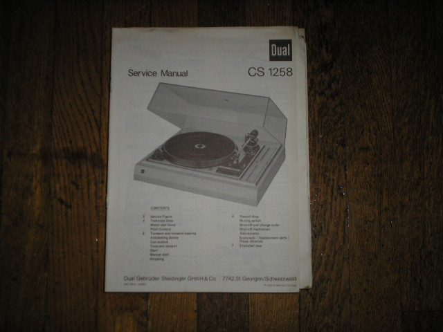 CS1258 CS 1258 Turntable Service Manual