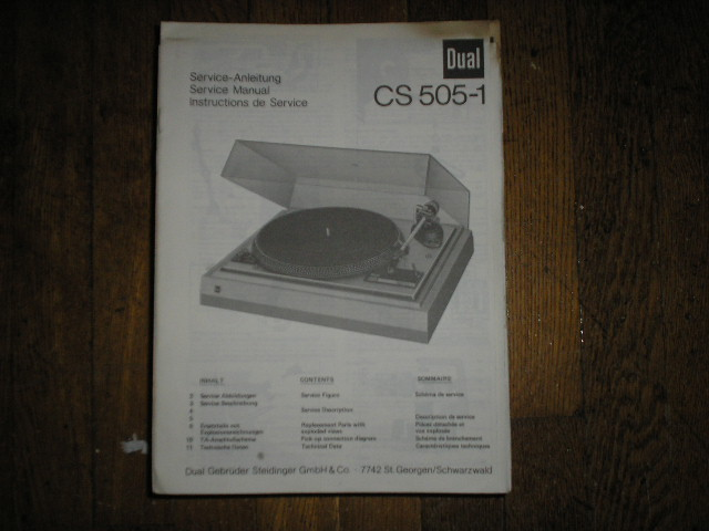 CS505-1 Turntable Service Manual  Dual
