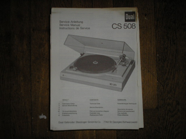 CS508  Turntable Service Manual  Dual