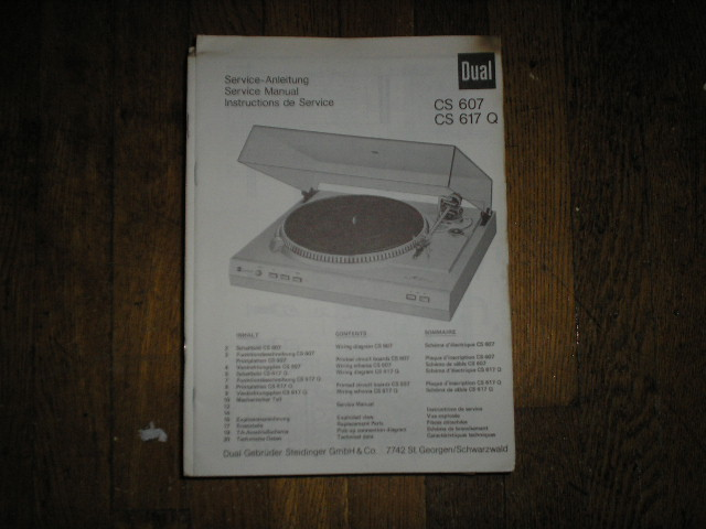CS607 CS617Q Turntable Service Manual  Dual