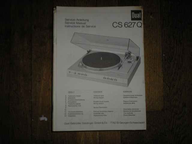 CS627Q Turntable Service Manual  Dual