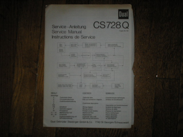 CS728Q Turntable Service Manual  Dual