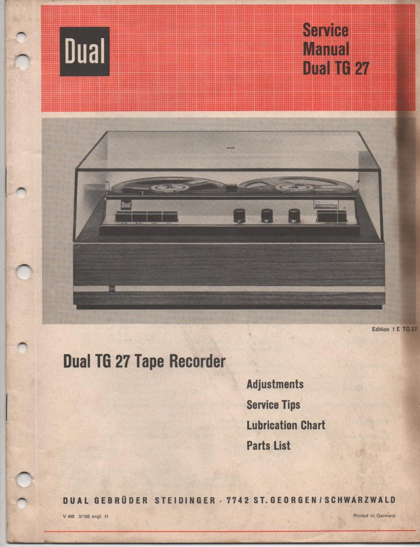 TG-27 Reel to Reel Service Manual  Dual