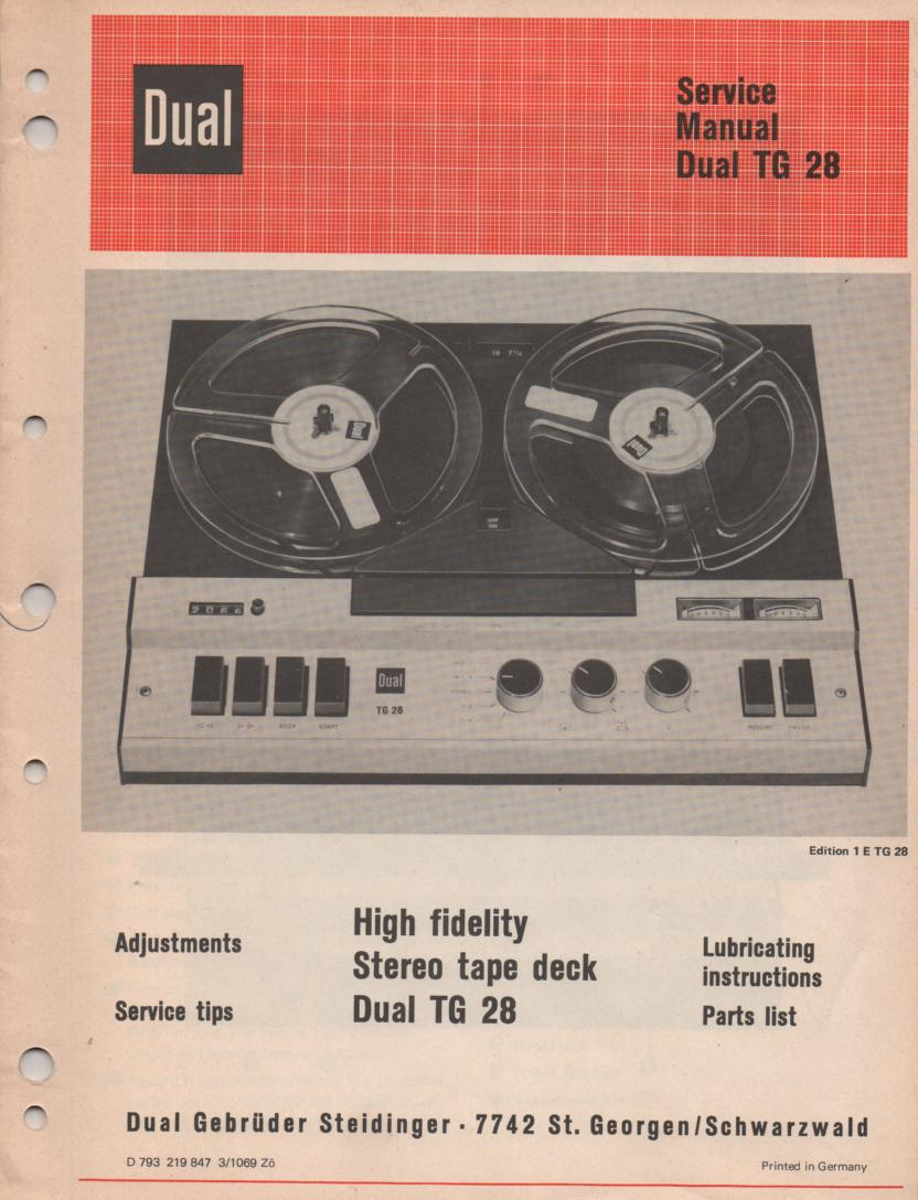 TG-28 Reel to Reel Service Manual  Dual