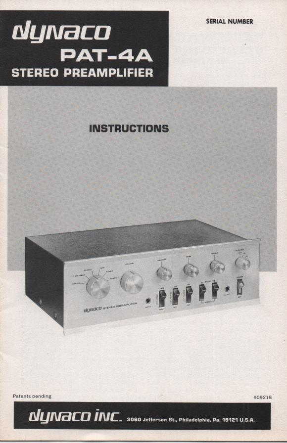 PAT-4A Pre-Amplifier Owners Manual