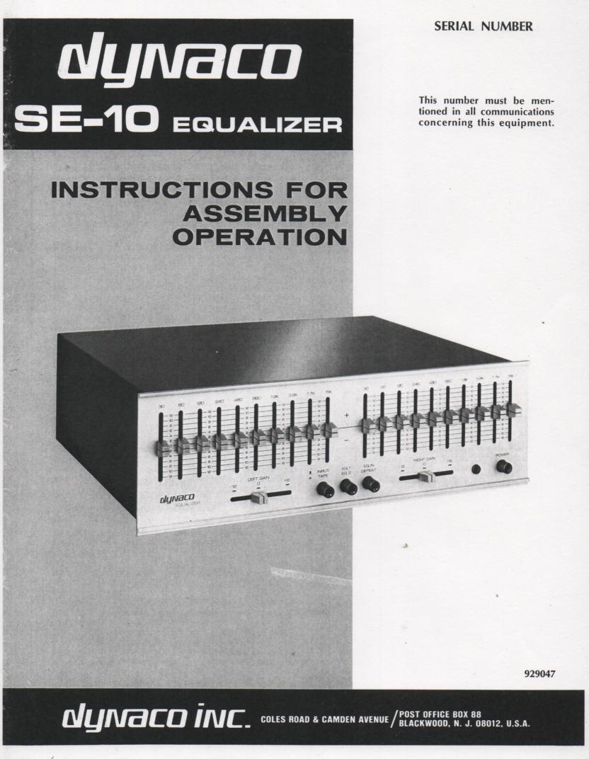 SE-10 Equalizer Assembly Manual.   contains a schematic, parts list, and the assembly instructions
