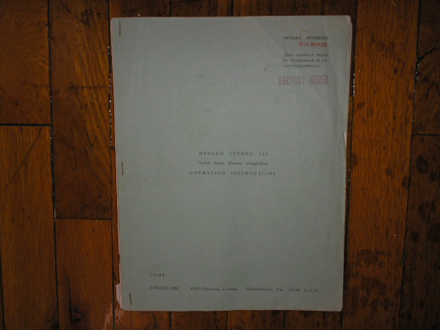 Stereo 120 Control Amplifier Operating Instruction Manual