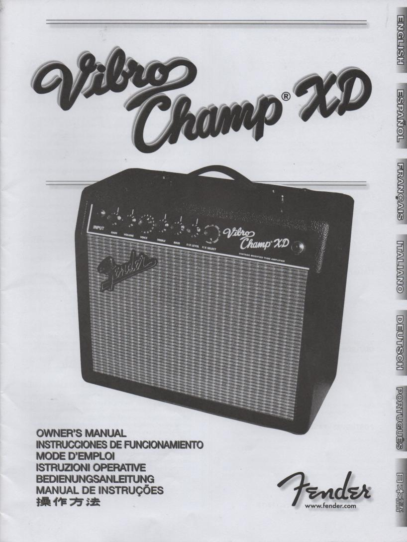 Vibro Champ XD Owners Operating Instruction Manual..  Manual is in Engilsh, Spanish, French, German, Portuguese, Italiano, and Japanese