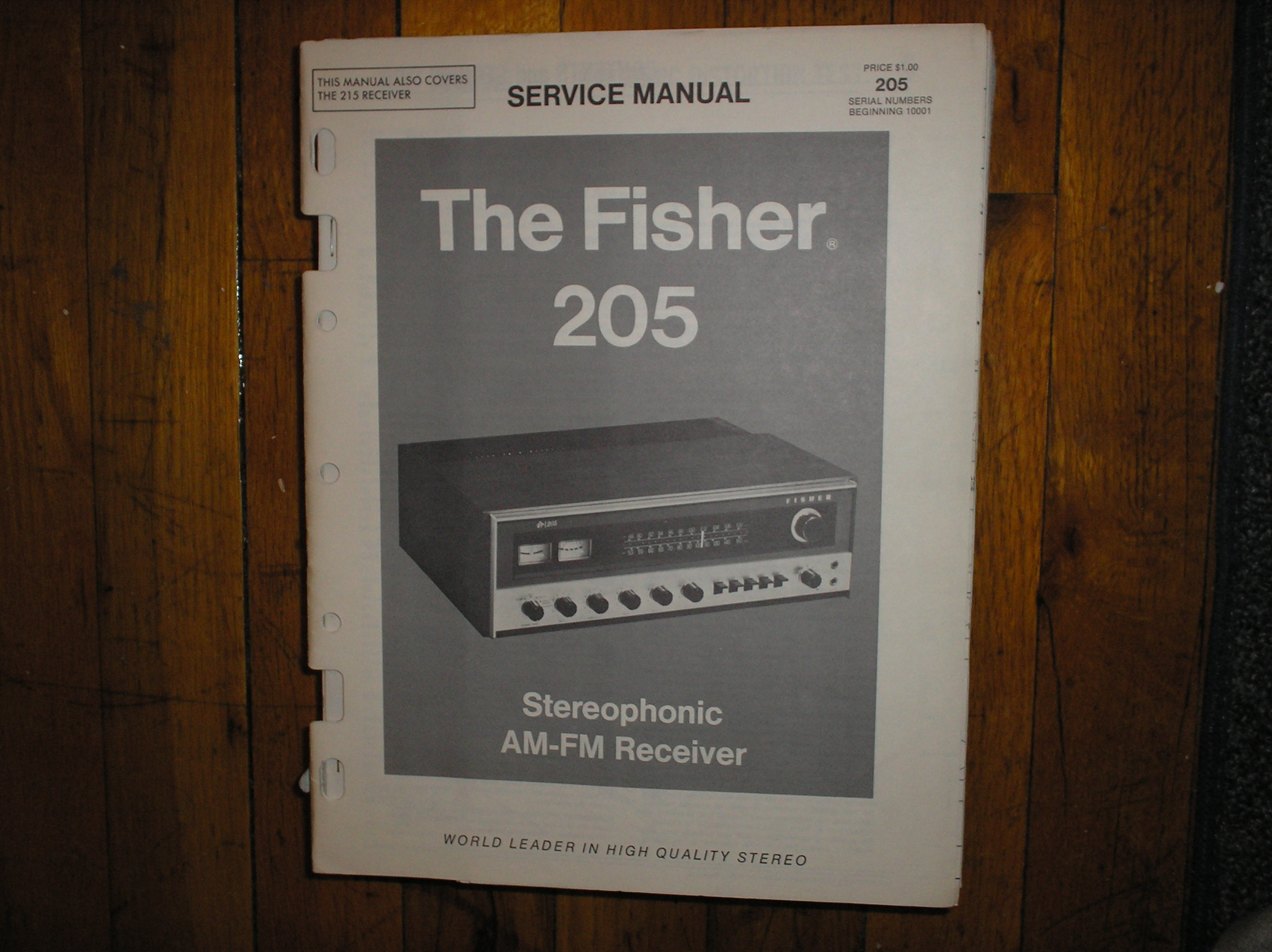 205 215 Receiver Service Manual. 205 s/n 10001 and up..