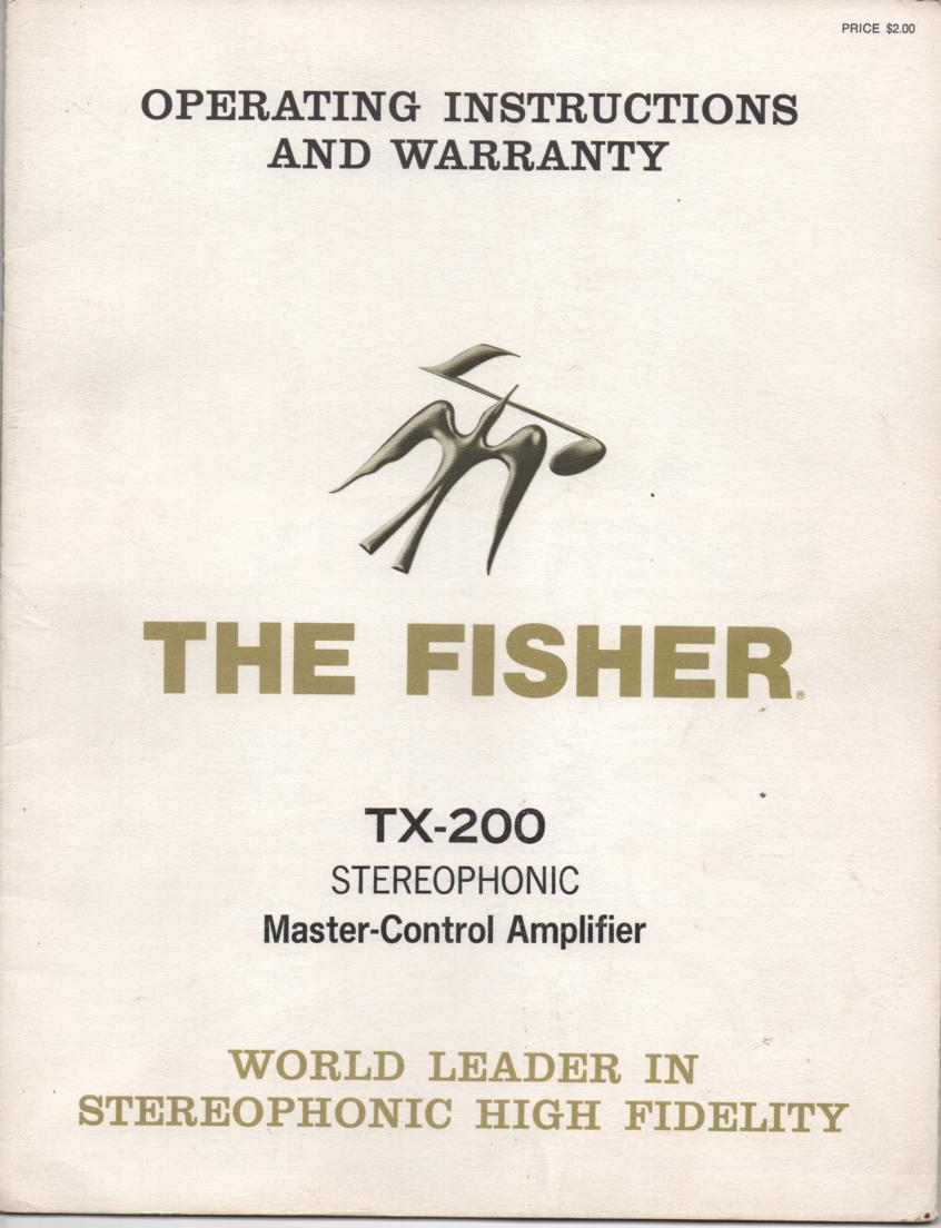 TX-200 Master Control Amplifier Operating Instruction Manual