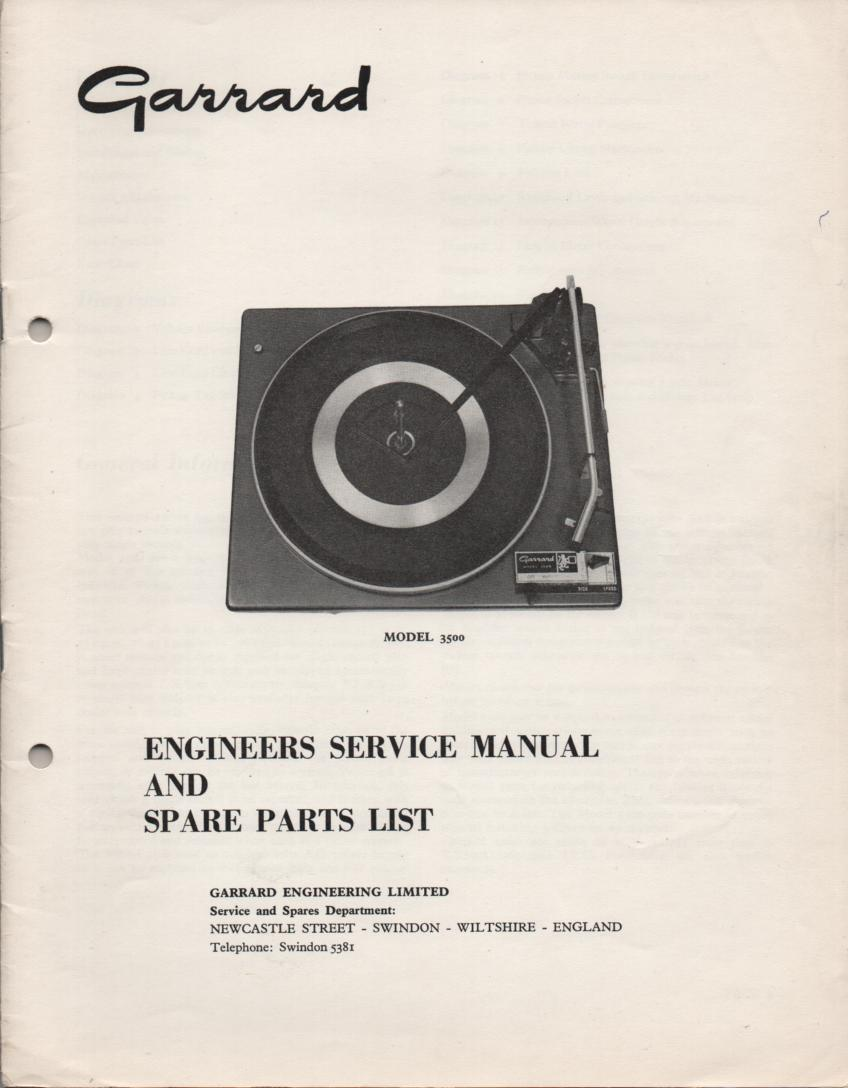 3500 Turntable Exploded View and Parts List  Service Manual..