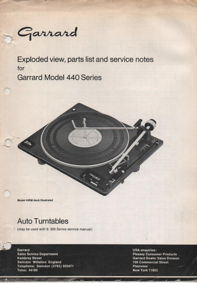 440 Series 440M Turntable Exploded View and Parts List Service Manual