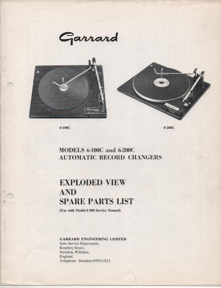 6-100C 6-200C Series Turntable Exploded View Parts Manual  Use with 6-300 Service Manual