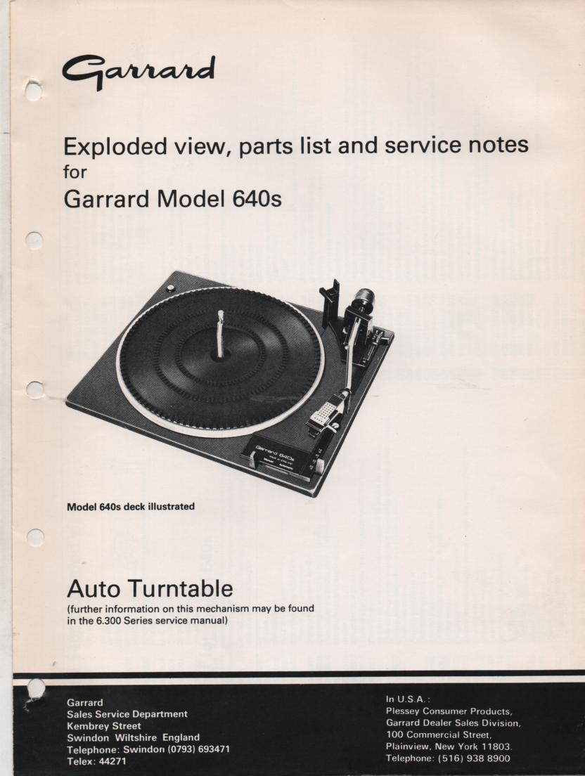 640s Turntable Exploded View and Parts List Service Manual