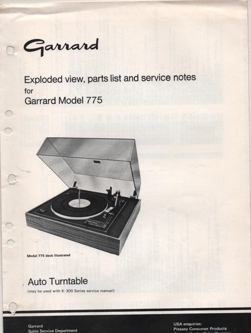 775 Turntable Exploded View and Parts List Service Manual.. Use 6-300 manual for complete manual..
