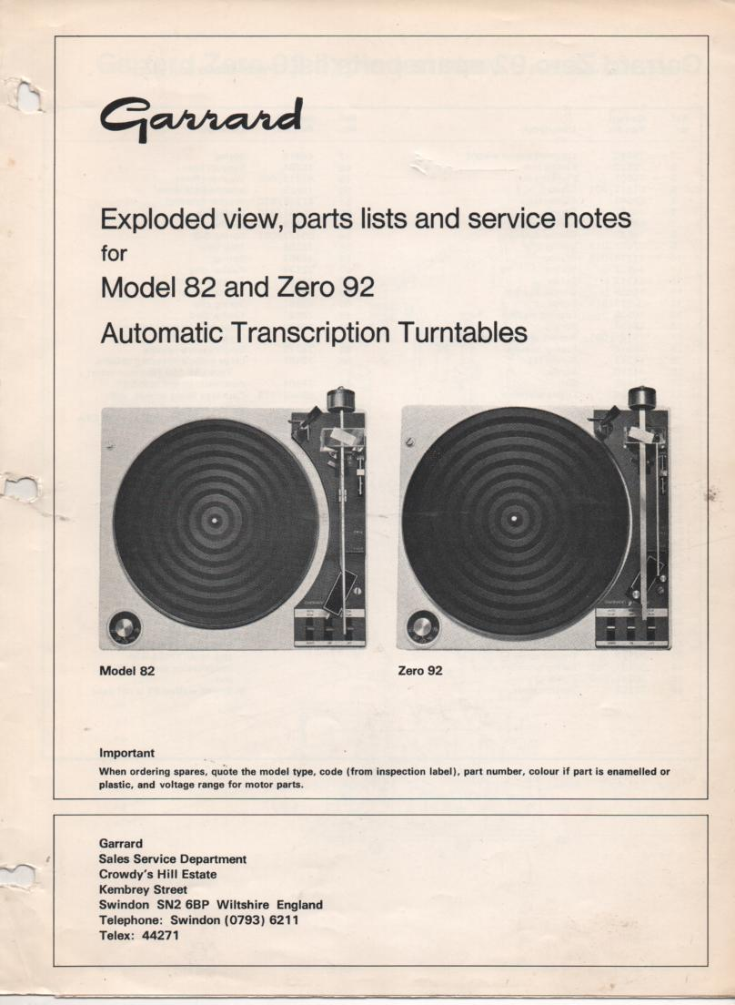 82 ZERO 92 Turntable Service Manual