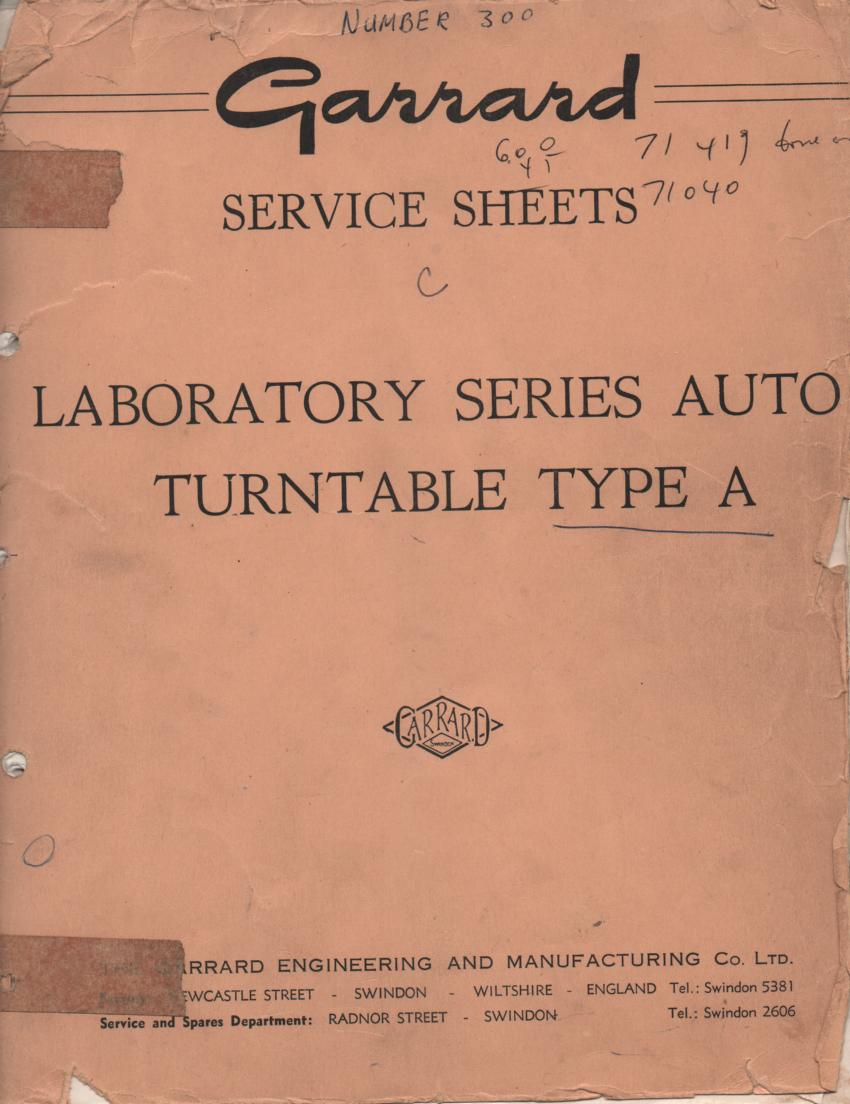 A TYPE A Turntable Service Manual..