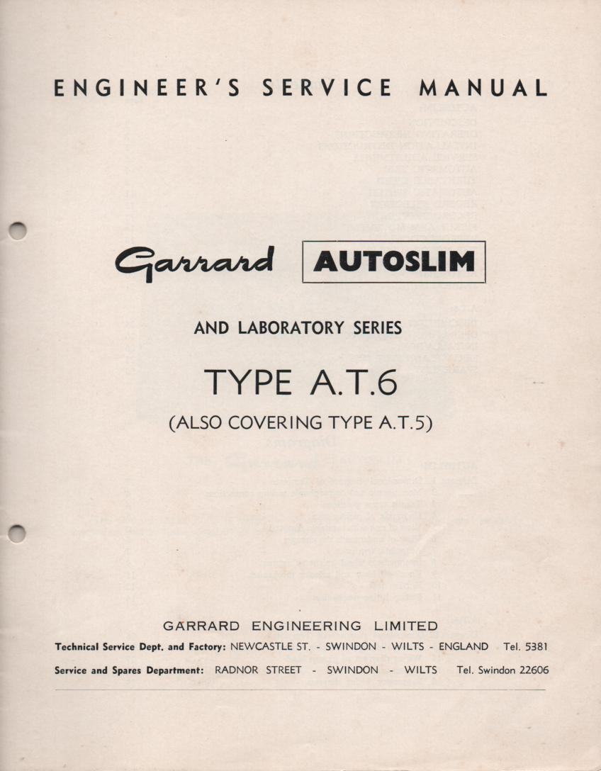 AT5 AT6 Turntable Service Manual..