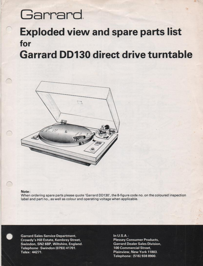 DD130 Turntable Exploded View and Parts Manual