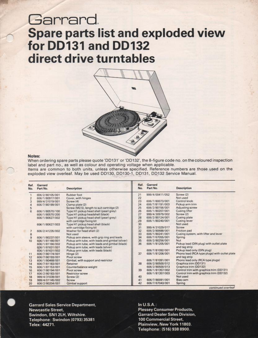 DD131 DD132 Turntable Service Manual  GARRARD