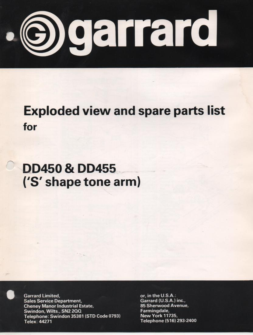 DD450 DD455 Turntable Exploded View Parts Manual for S shape tone arm
