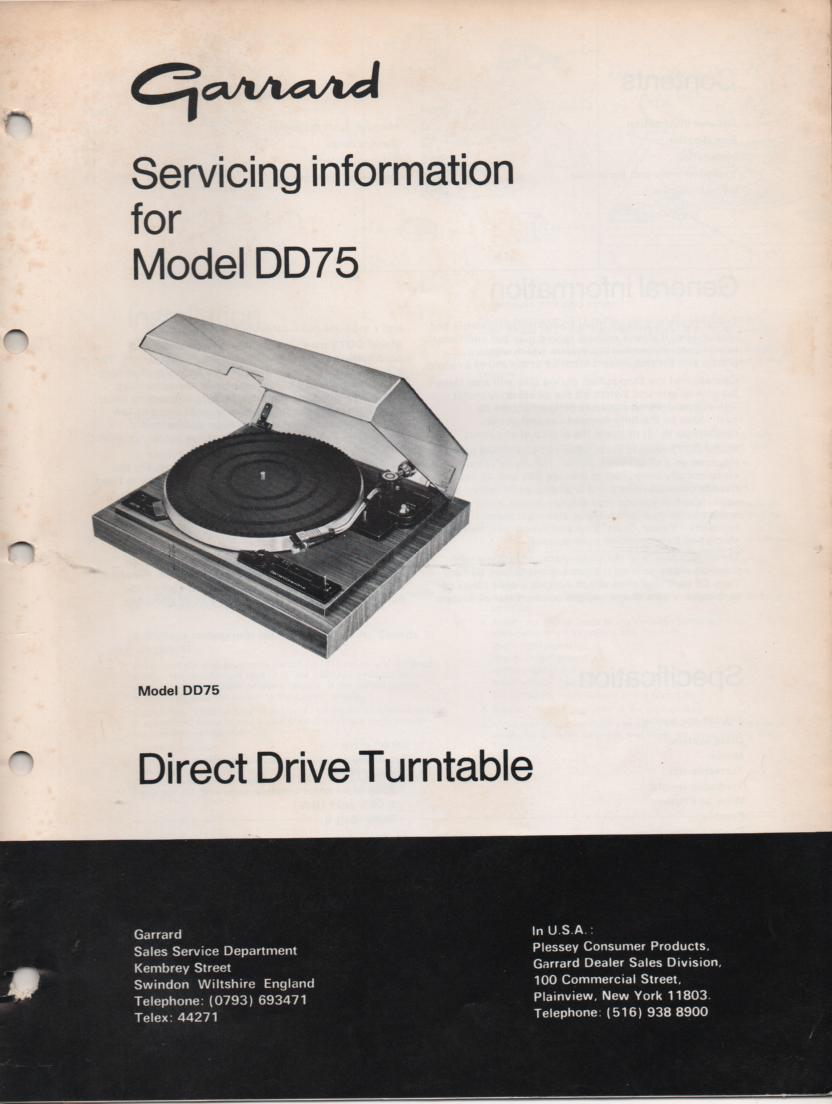 DD75 Turntable Service Manual..
