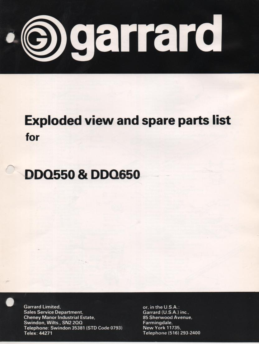 DDQ550 DDQ650 Turntable Exploded View Parts Manual