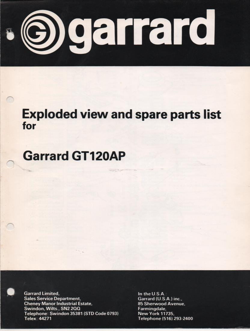 GT120AP Turntable Exploded View Parts Manual.Also contains tone arm weight balance adjustment information