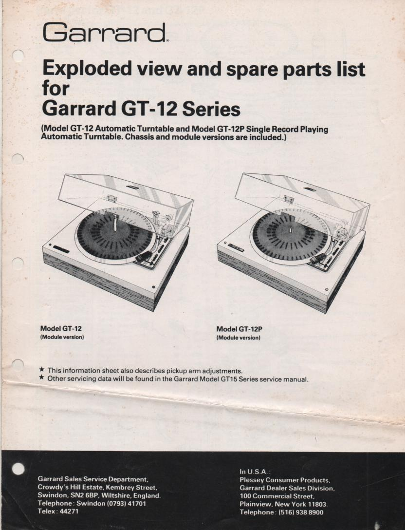 GT-12 Series GP-12P Turntable Exploded View and Parts Manual. GT-15 partial