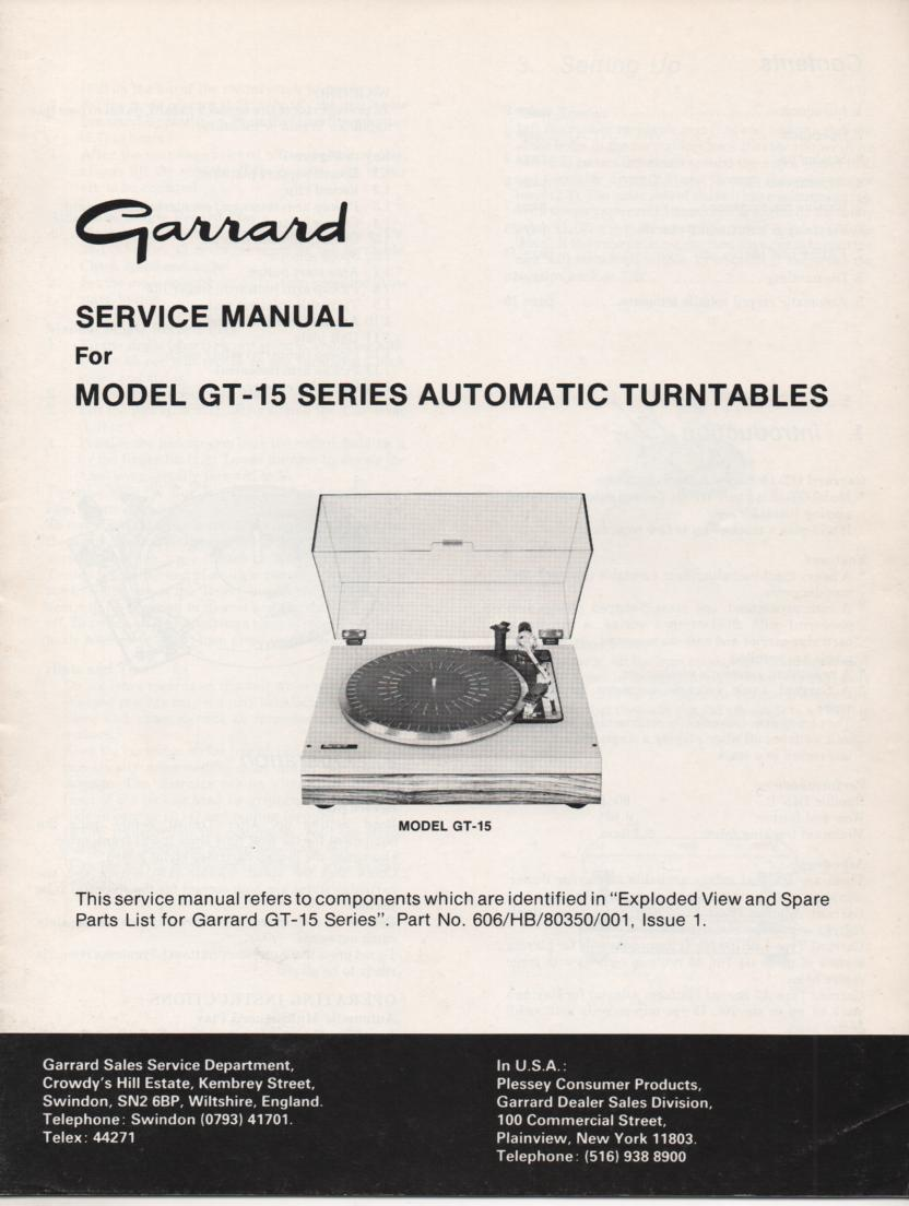 GT-15 Turntable Service Manual