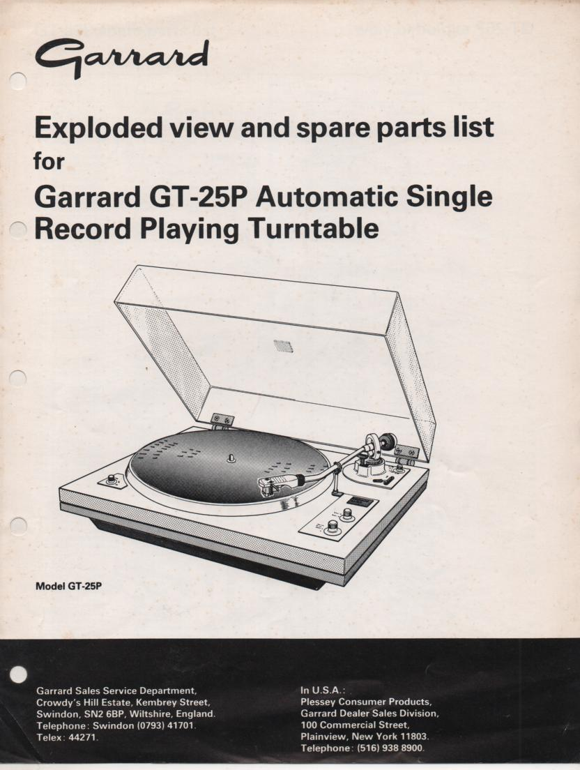 GT-25P Turntable Exploded  View and Parts Manual