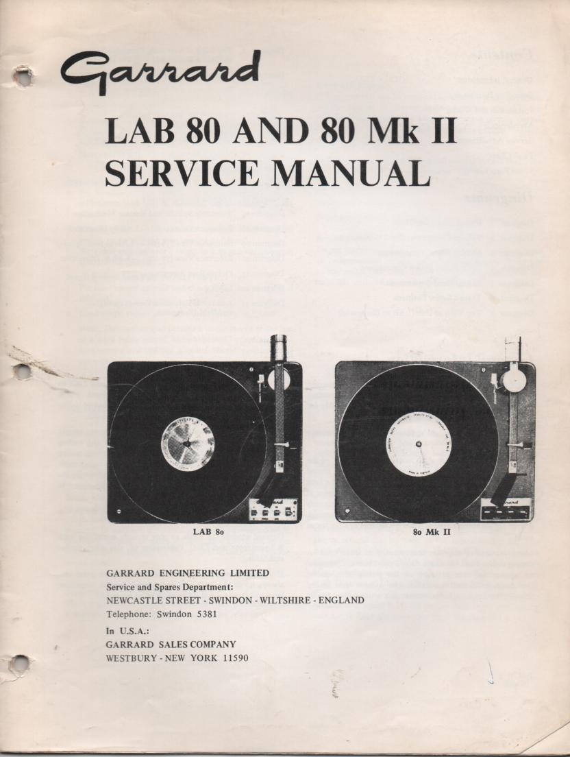 Lab 80 Lab 80 Mk II Turntable Setvice Manual  GARRARD