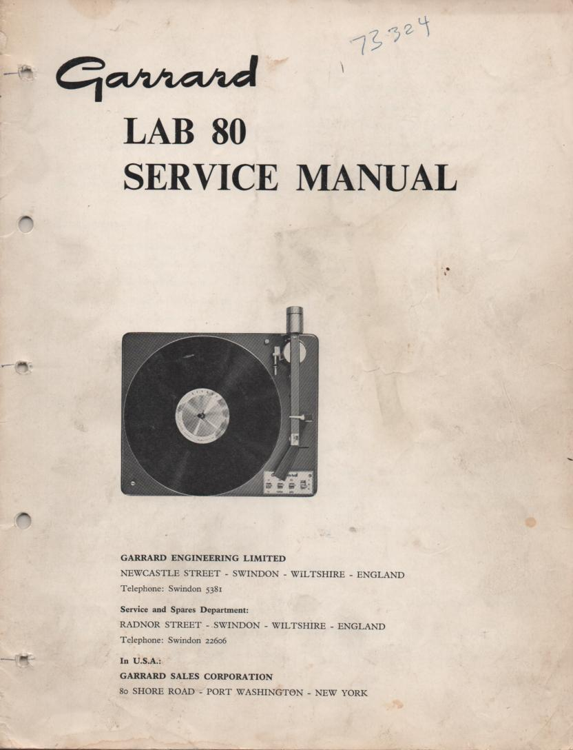 LAB 80 Turntable Service Manual