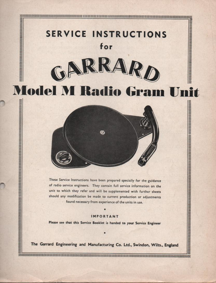M TYPE M Phonograph Turntable Service Manual