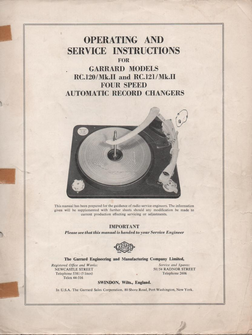 RC-120 Mk 2 II RC-121 Mk 2 II PHONOGRAPH Turntable Service Manual