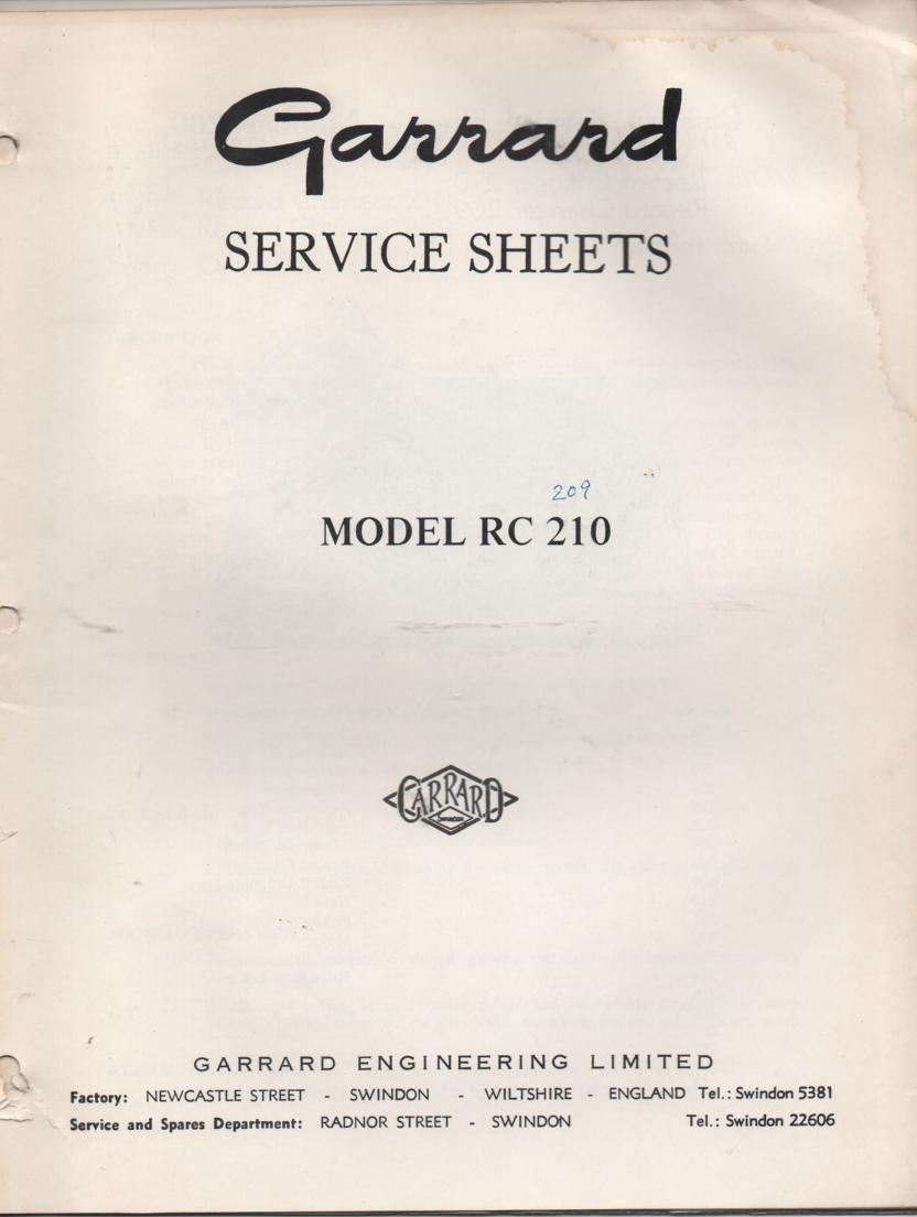 RC 209 RC 210 Record Changer Service Manual  GARRARD