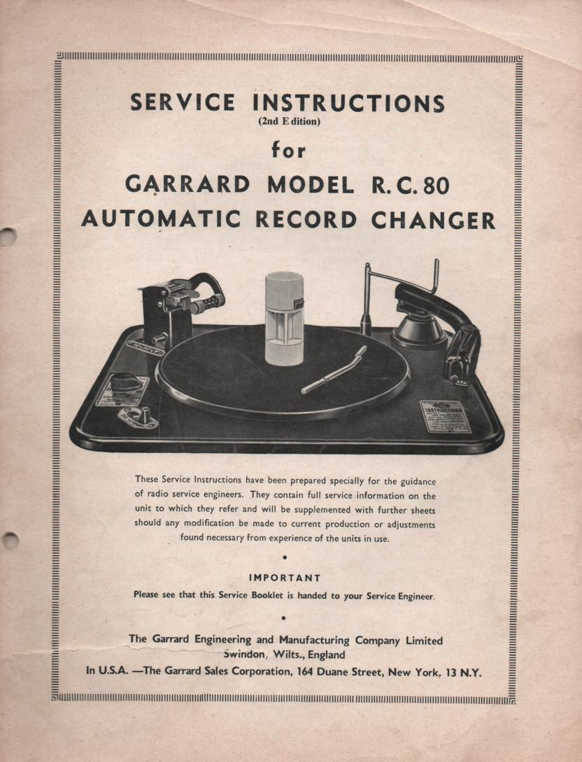 RC-80 Phonograph Turntable Service Manual