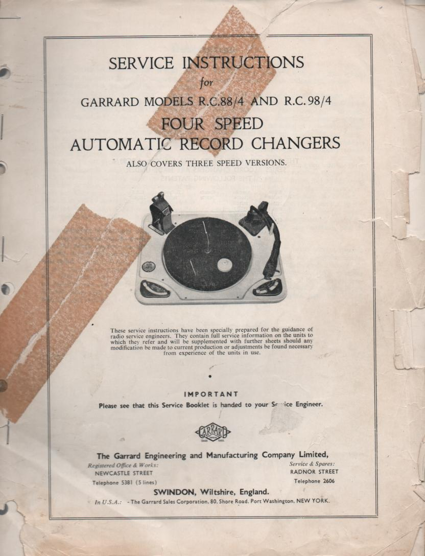 RC-88 RC-88 4 RC-98 4 Phonograph Turntable Service Manual